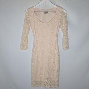 Asos Lace Long Sleeves Bodycon Dress Cream